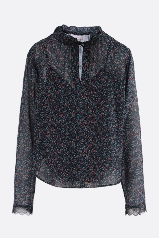 SEE BY CHLOÈ: Floral haze print georgette blouse Color Blue_1