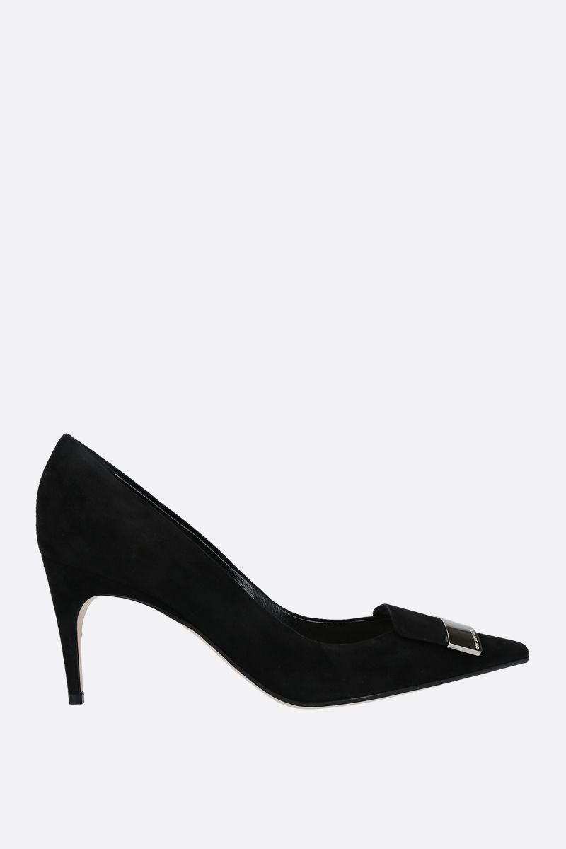 SERGIO ROSSI: SR1 velvet suede pumps Color Black_1