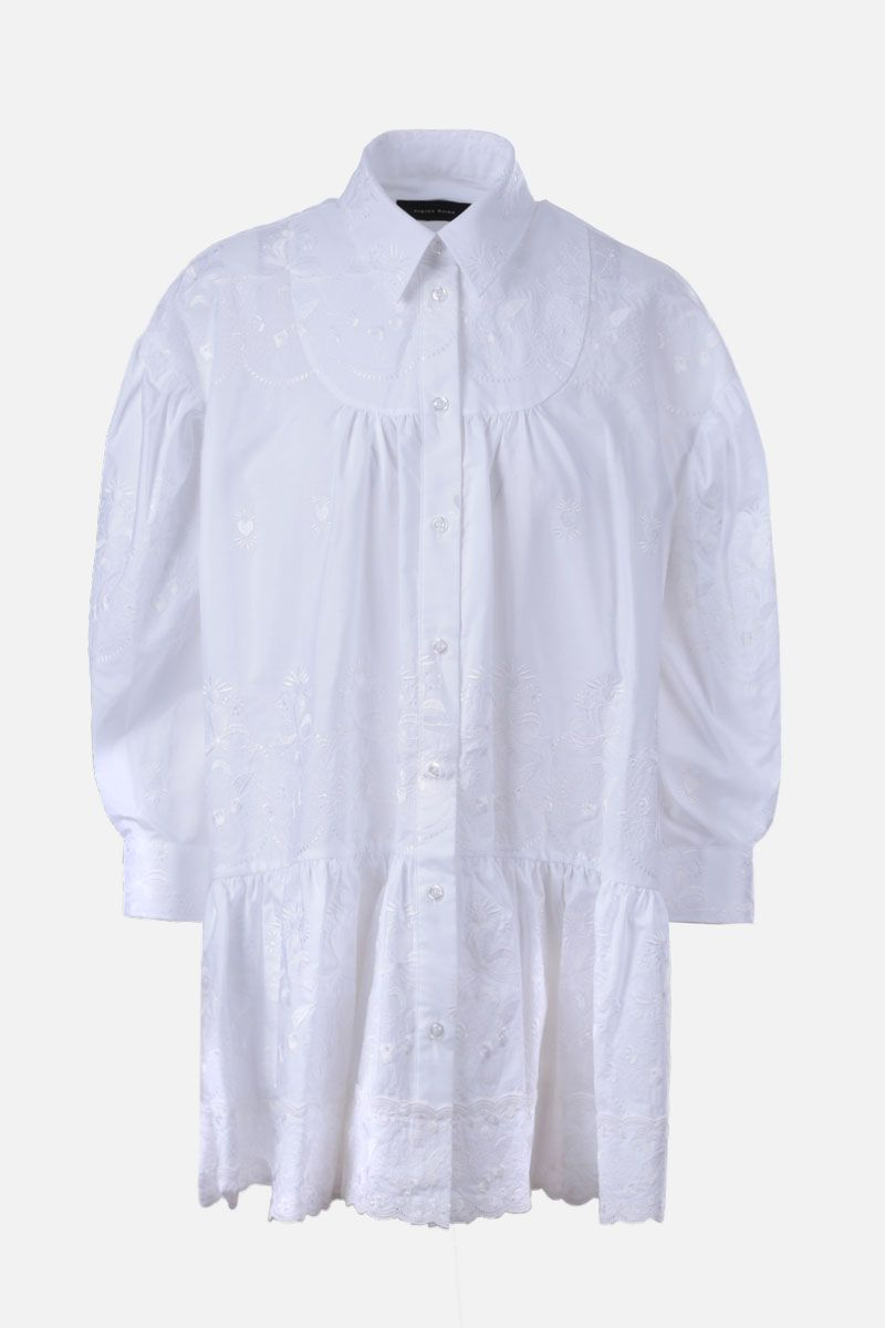 SIMONE ROCHA: floral embroidered cotton shirt Color White_1