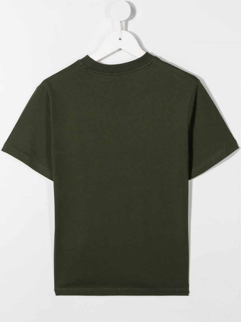 STELLA McCARTNEY KIDS: logo print cotton t-shirt Color Green_2