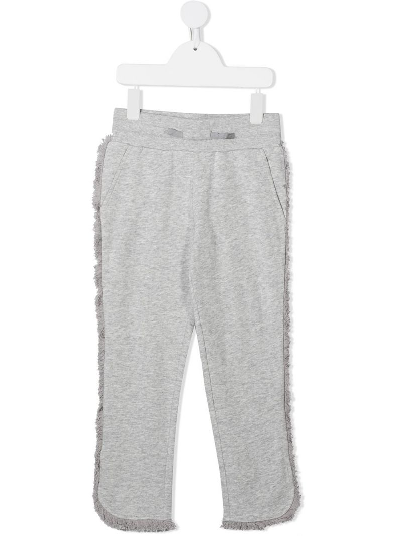 STELLA McCARTNEY KIDS: fringe-detailed cotton joggers Color Grey_1