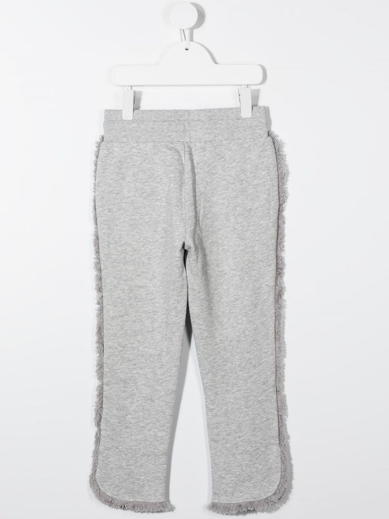 STELLA McCARTNEY KIDS: fringe-detailed cotton joggers Color Grey_2