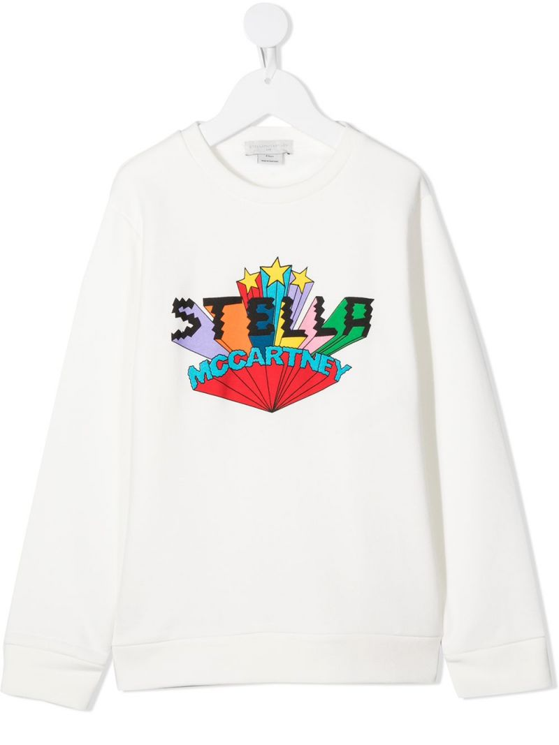 STELLA McCARTNEY KIDS: logo print cotton sweatshirt Color White_1