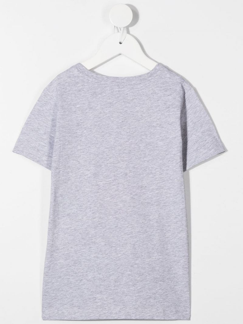 STELLA McCARTNEY KIDS: flower logo print cotton t-shirt Color Grey_2