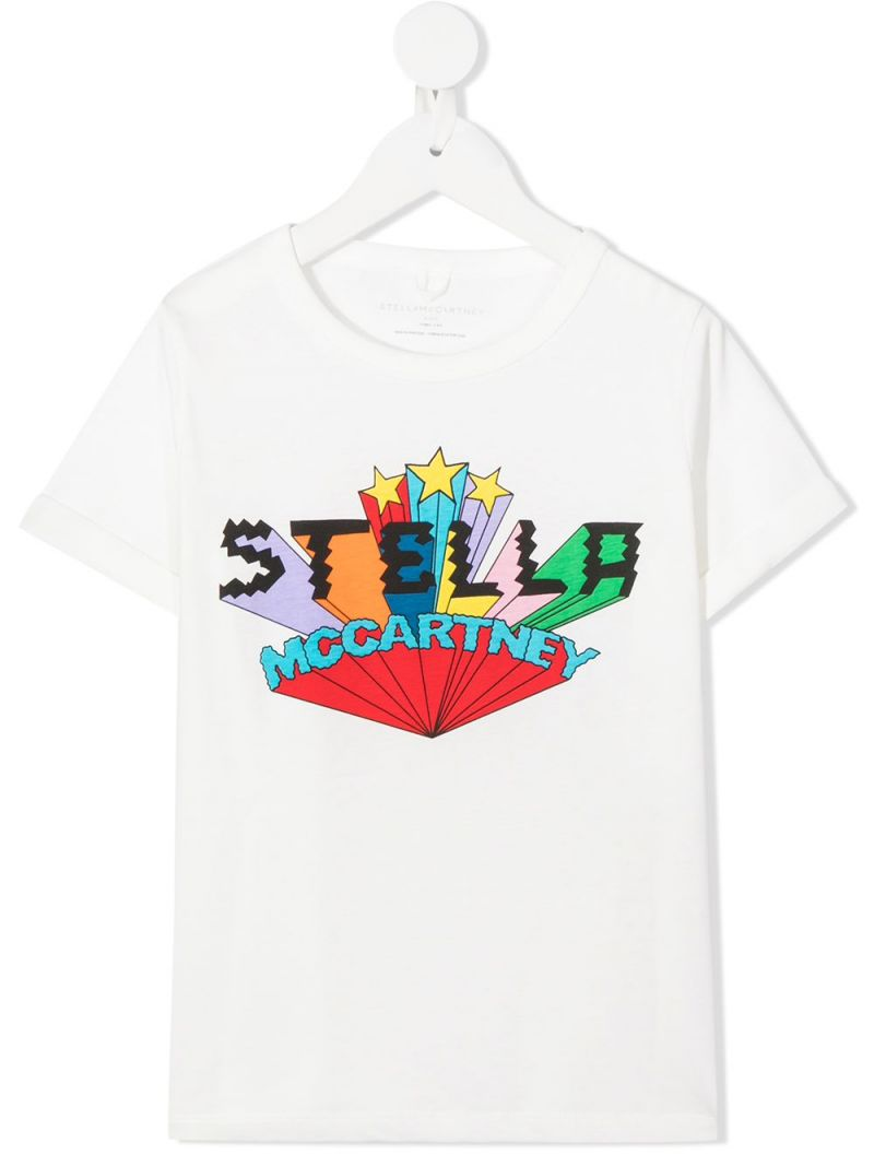 STELLA McCARTNEY KIDS: logo print cotton t-shirt Color White_1