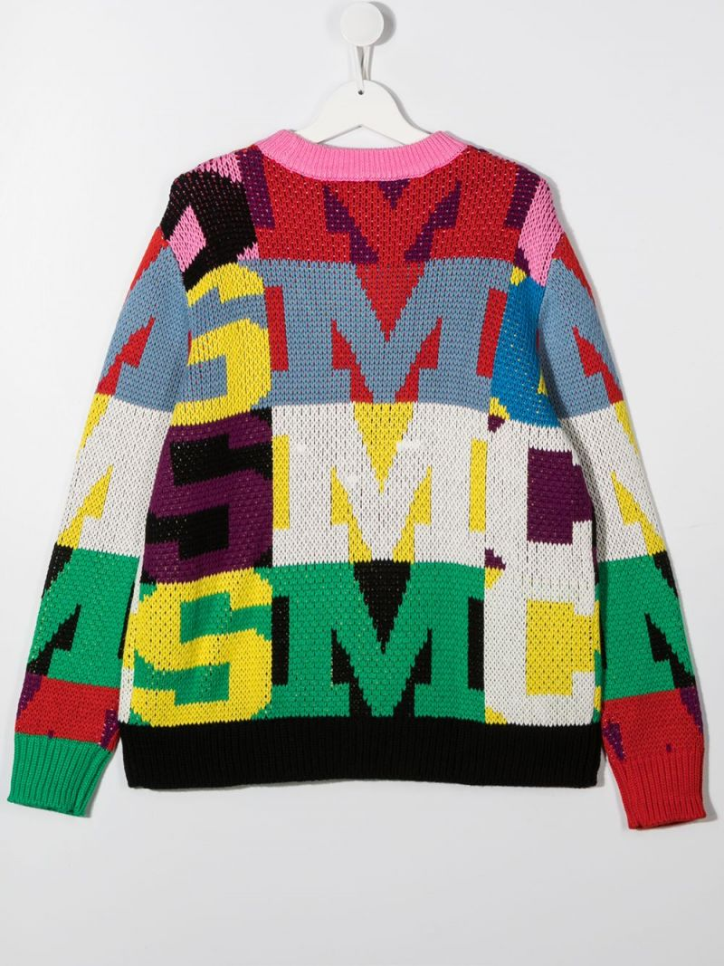 STELLA McCARTNEY KIDS: oversize letters intarsia cotton wool blend pullover Color Multicolor_2