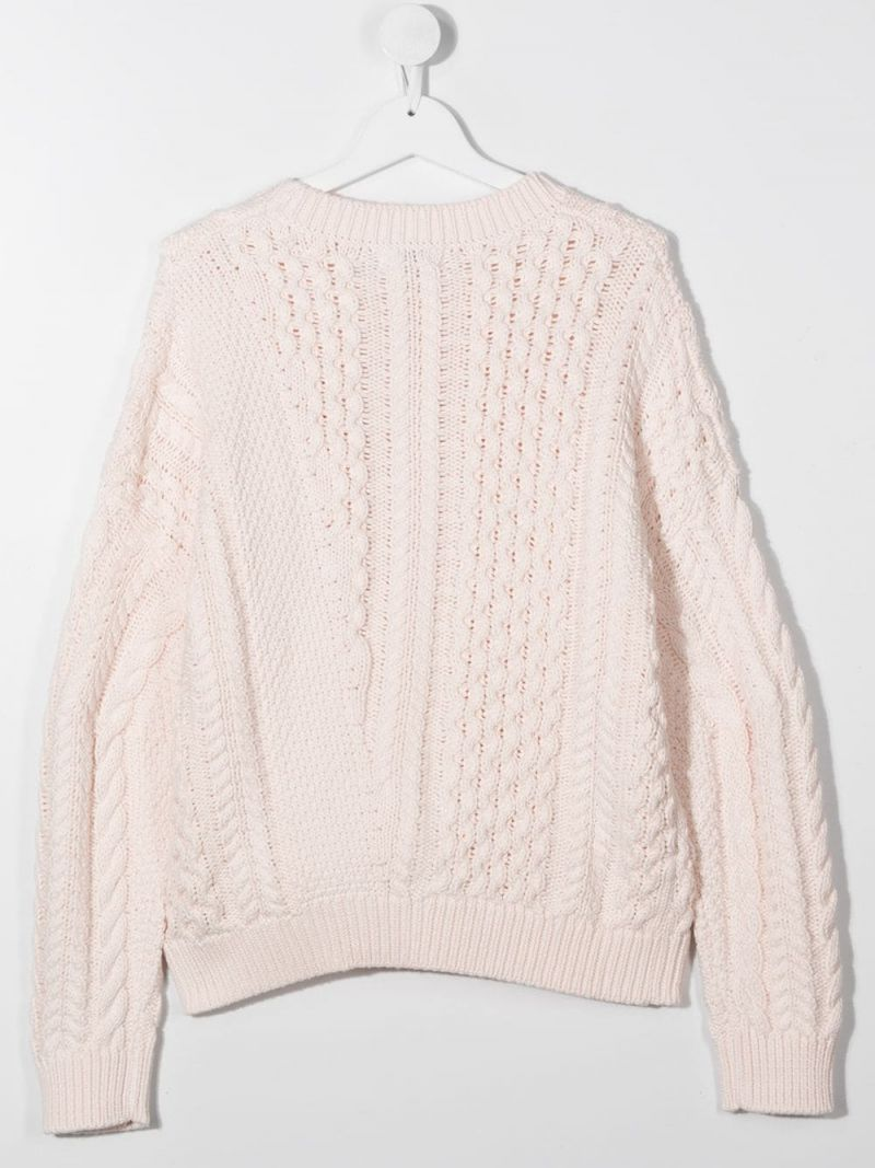 STELLA McCARTNEY KIDS: cotton wool blend cable-knit pullover Color Pink_2