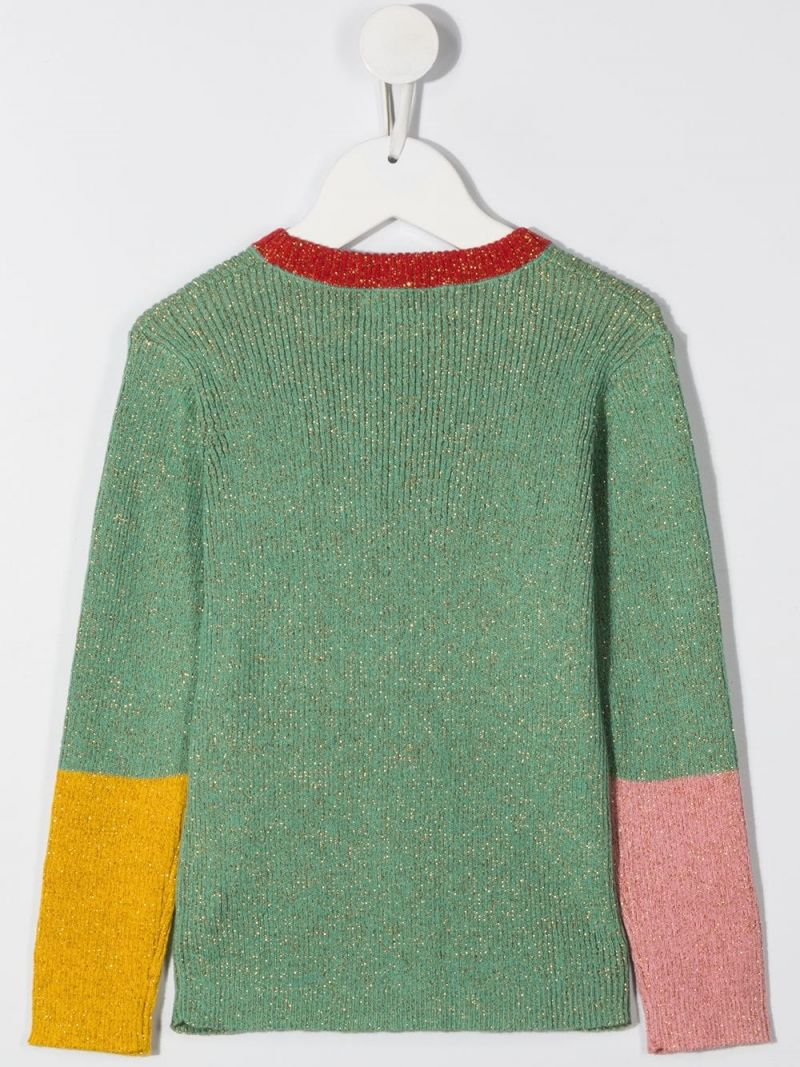 STELLA McCARTNEY KIDS: colour-block lurex pullover Color Green_2