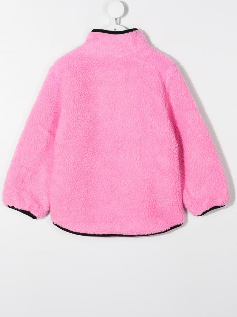 STELLA McCARTNEY KIDS: full-zip colour-block faux fur jacket Color Pink_2