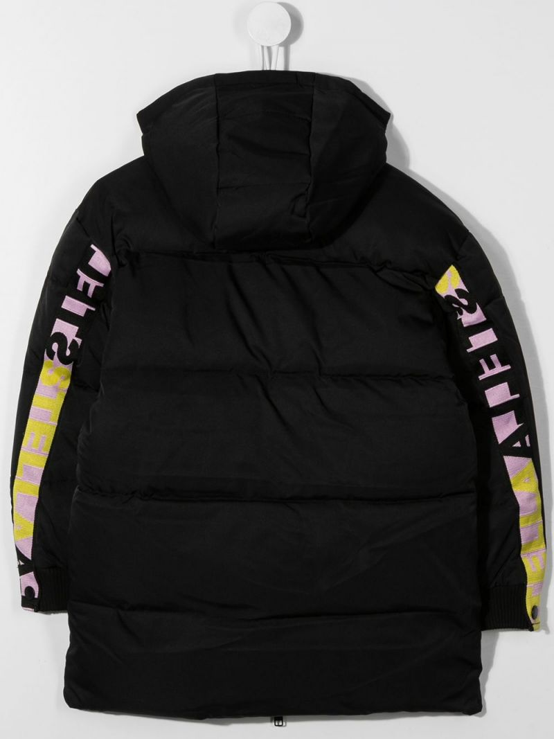 STELLA McCARTNEY KIDS: logoed band-detailed nylon padded jacket Color Black_2