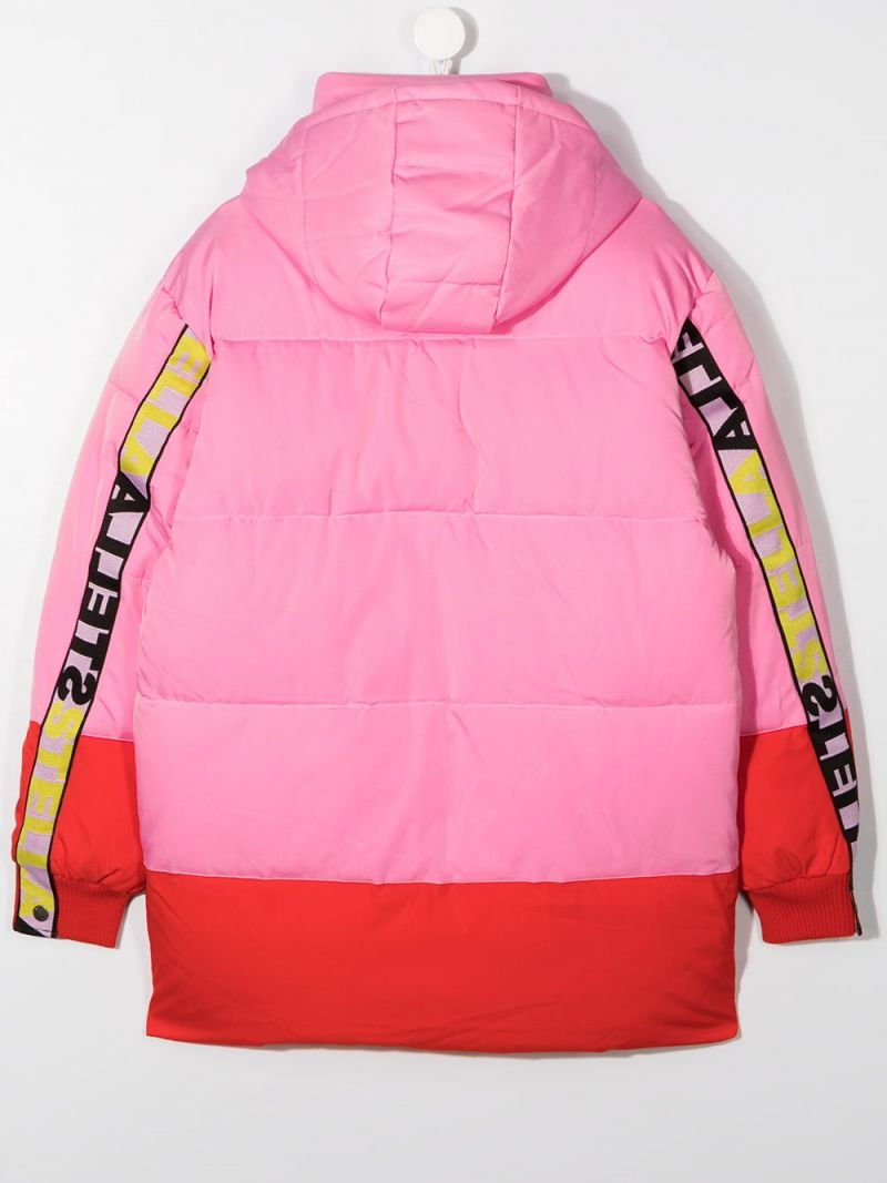 STELLA McCARTNEY KIDS: logoed band-detailed nylon padded jacket Color Pink_2