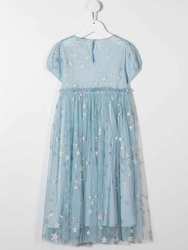 STELLA McCARTNEY KIDS: stars print tulle dress Color Silver_2