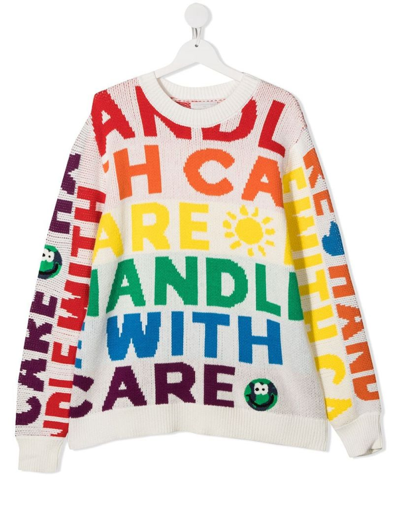 STELLA McCARTNEY KIDS: pullover in cotone e lana intarsio Handle with care Colore Multicolore_1