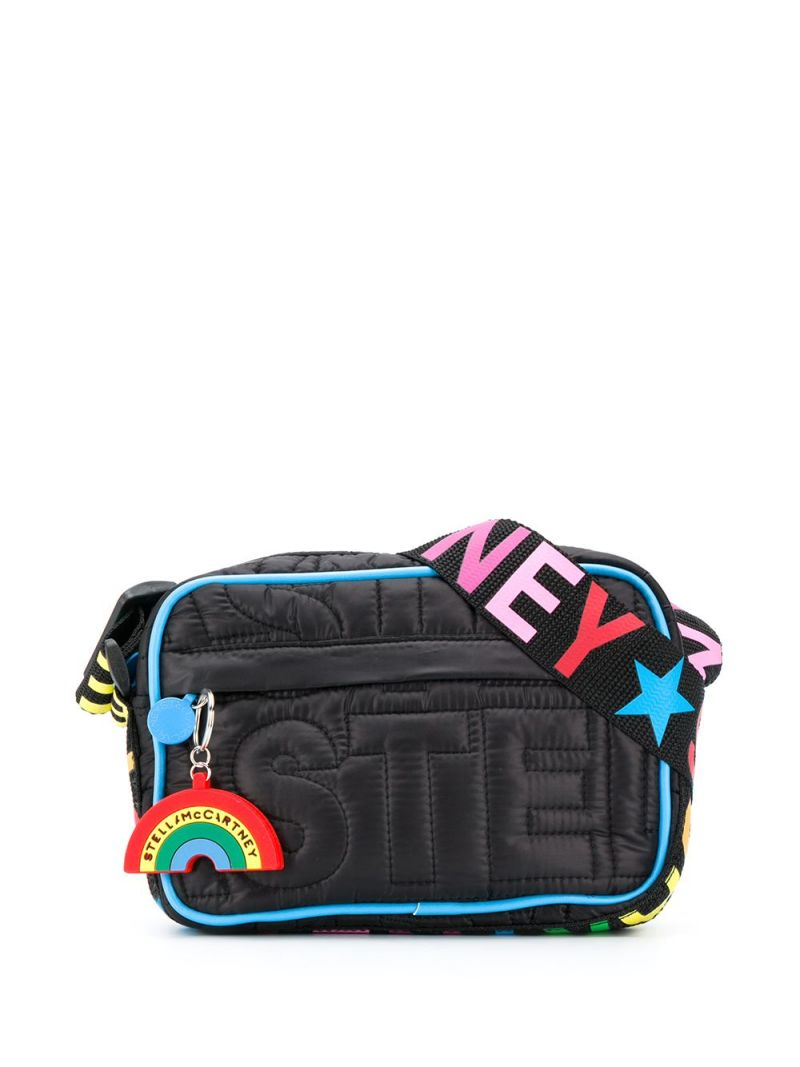 STELLA McCARTNEY KIDS: logo-quilted nylon shouder bag Color Black_1
