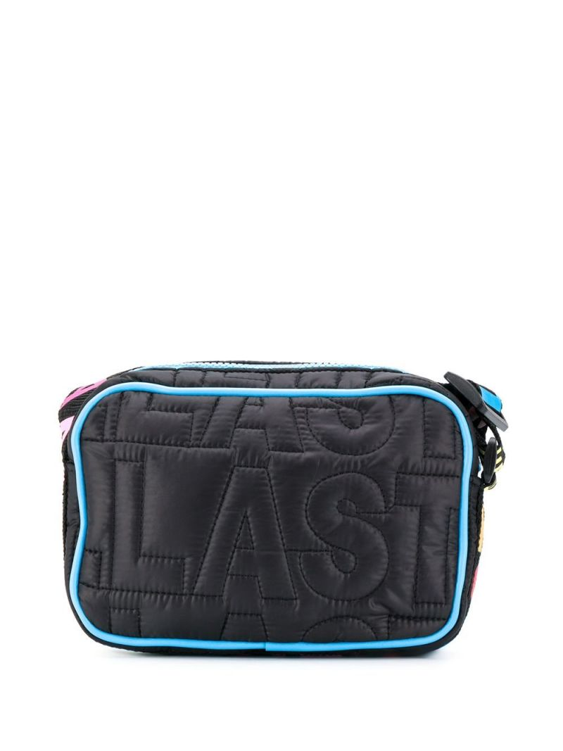 STELLA McCARTNEY KIDS: logo-quilted nylon shouder bag Color Black_2