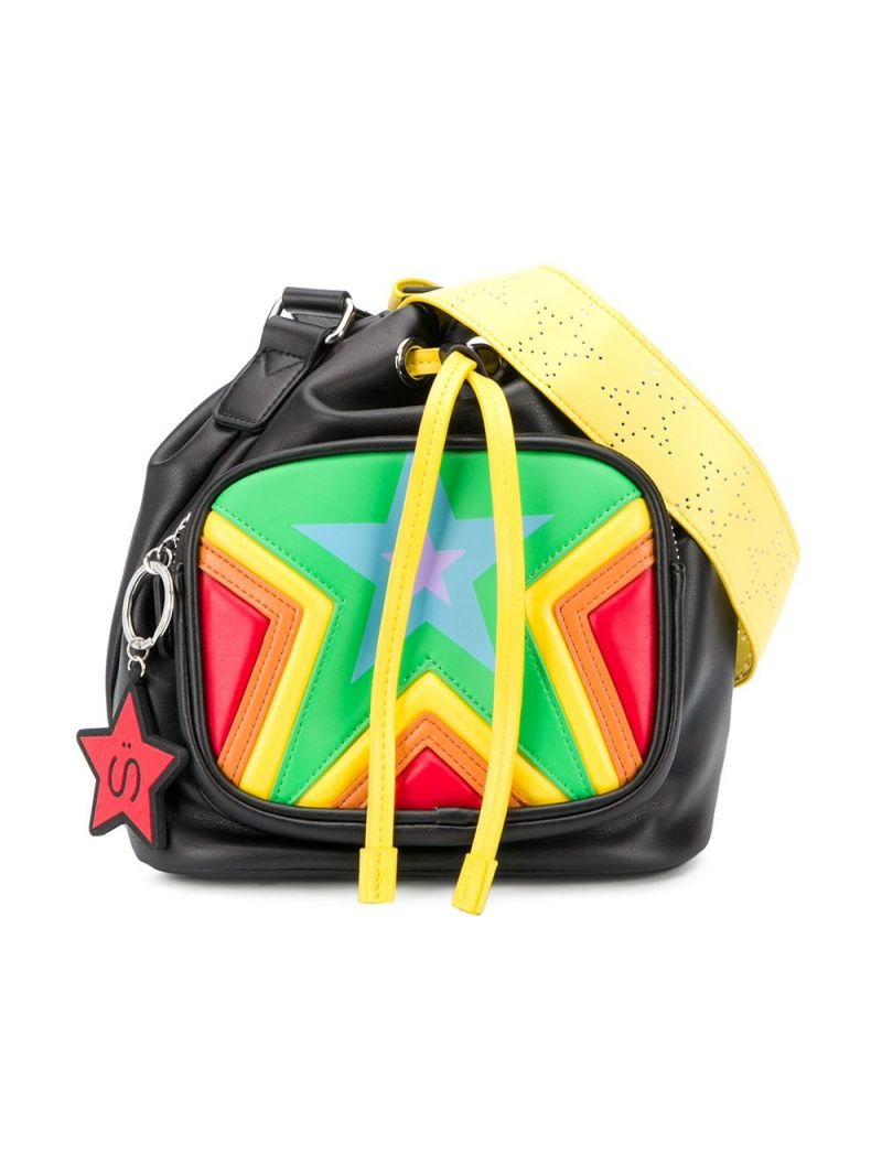 STELLA McCARTNEY KIDS: stars print faux leather bucket bag Color Multicolor_1