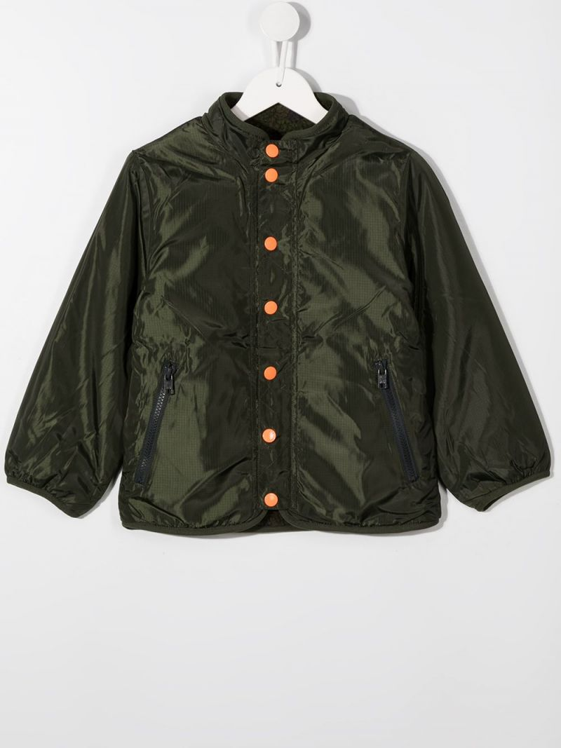 STELLA McCARTNEY KIDS: reversible faux-fur and nylon jacket Color Green_2