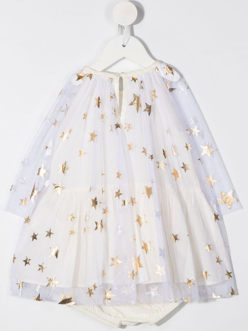 STELLA McCARTNEY KIDS: stars print tulle dress with bloomers Color Gold_2