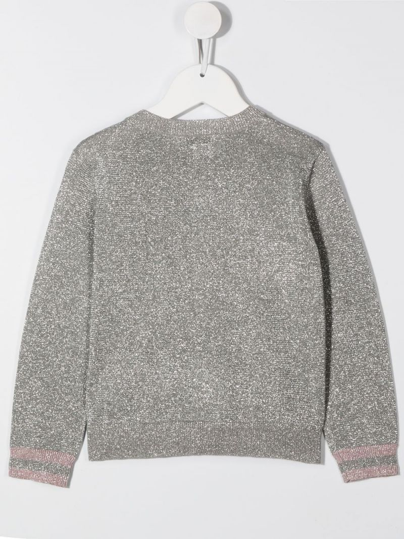 STELLA McCARTNEY KIDS: lurex knit cardigan Color Silver_2