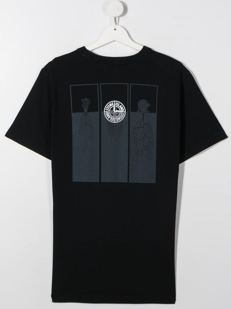 STONE ISLAND JUNIOR: graphic print cotton t-shirt Color Blue_2
