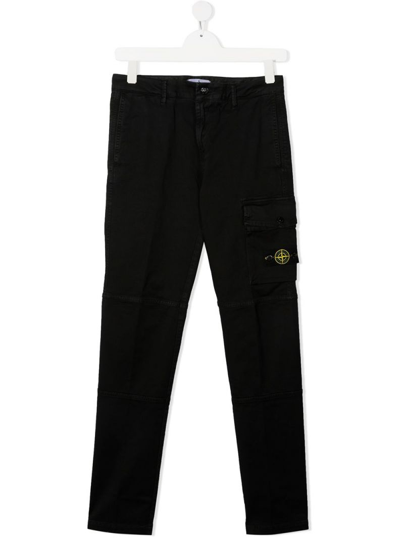 STONE ISLAND JUNIOR: logo badge-detailed stretch cotton cargo pants Color Black_1