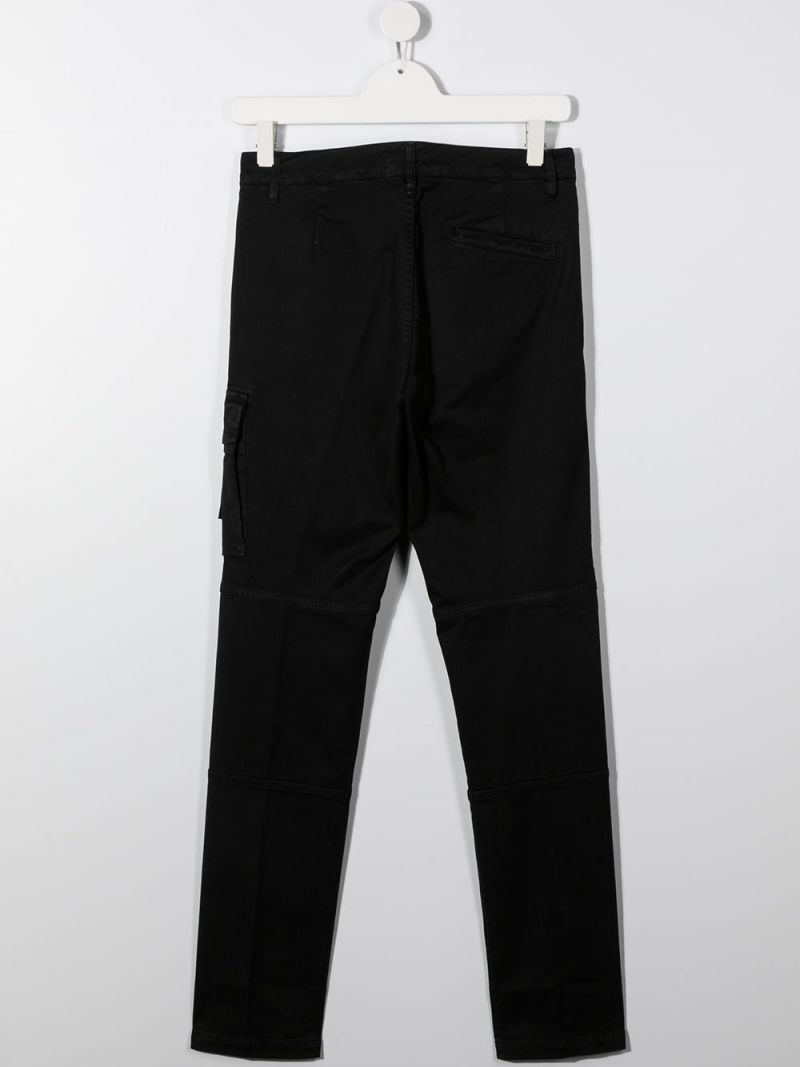 STONE ISLAND JUNIOR: logo badge-detailed stretch cotton cargo pants Color Black_2