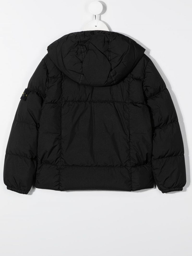 STONE ISLAND JUNIOR: logo badge-detailed nylon down jacket Color Black_2