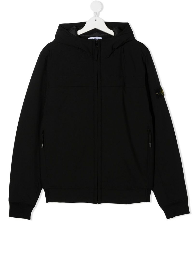 STONE ISLAND JUNIOR: logo badge-detailed technical fabric full-zip jacket Color Black_1
