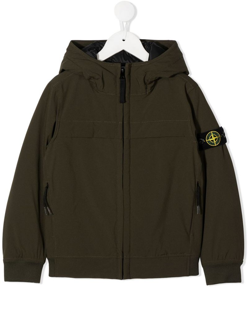 STONE ISLAND JUNIOR: logo badge-detailed technical fabric full-zip jacket Color Green_1