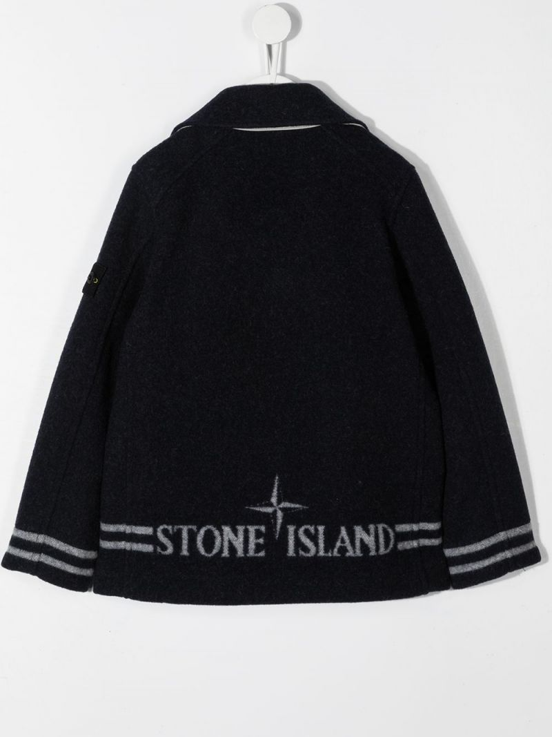 STONE ISLAND JUNIOR: double-breasted wool blend coat Color Blue_2