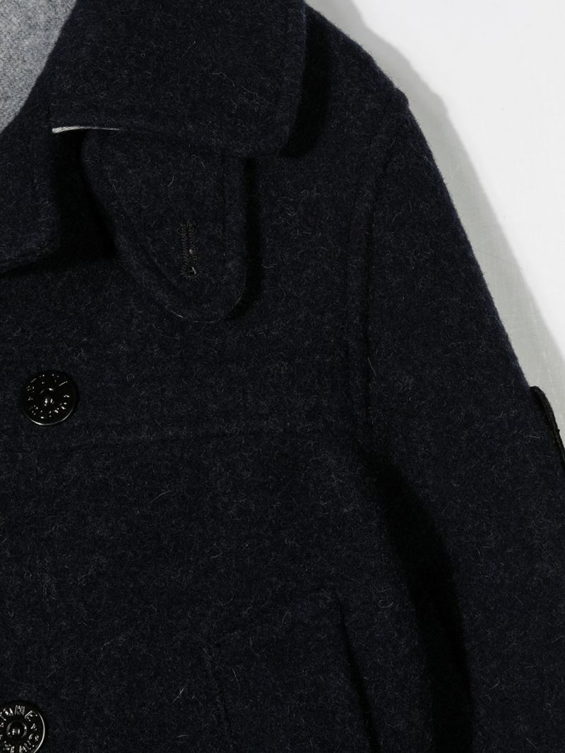 STONE ISLAND JUNIOR: double-breasted wool blend coat Color Blue_3