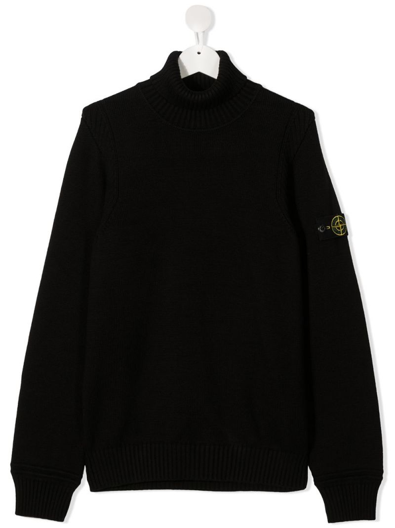 STONE ISLAND JUNIOR: logo badge-detailed cotton blend full-zip pullover Color Black_1