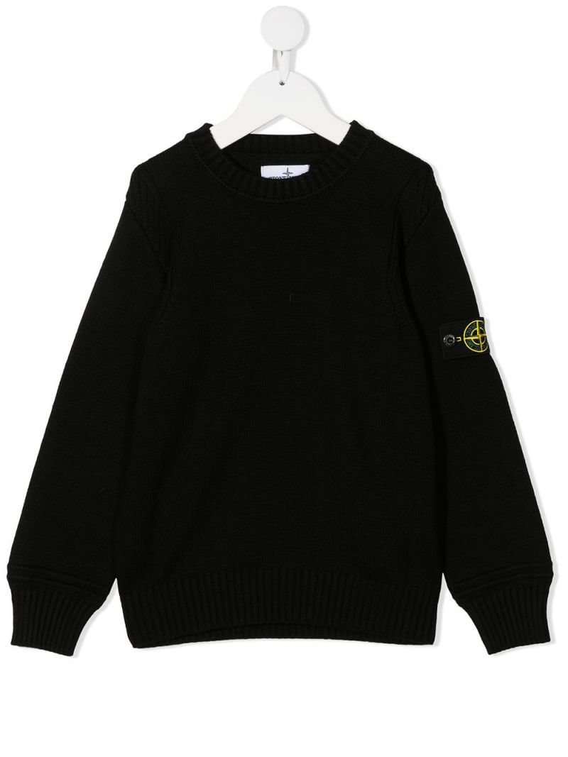 STONE ISLAND JUNIOR: pullover in misto cotone con badge logo Colore Nero_1