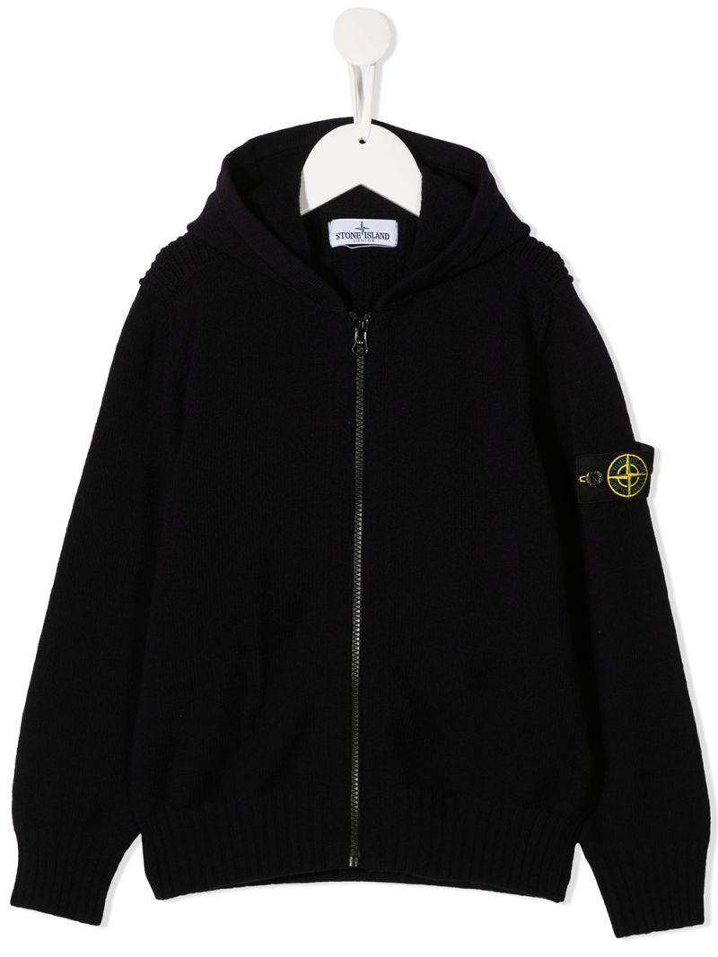 STONE ISLAND JUNIOR: pullover full-zip in misto lana con badge logo Colore Blu_1