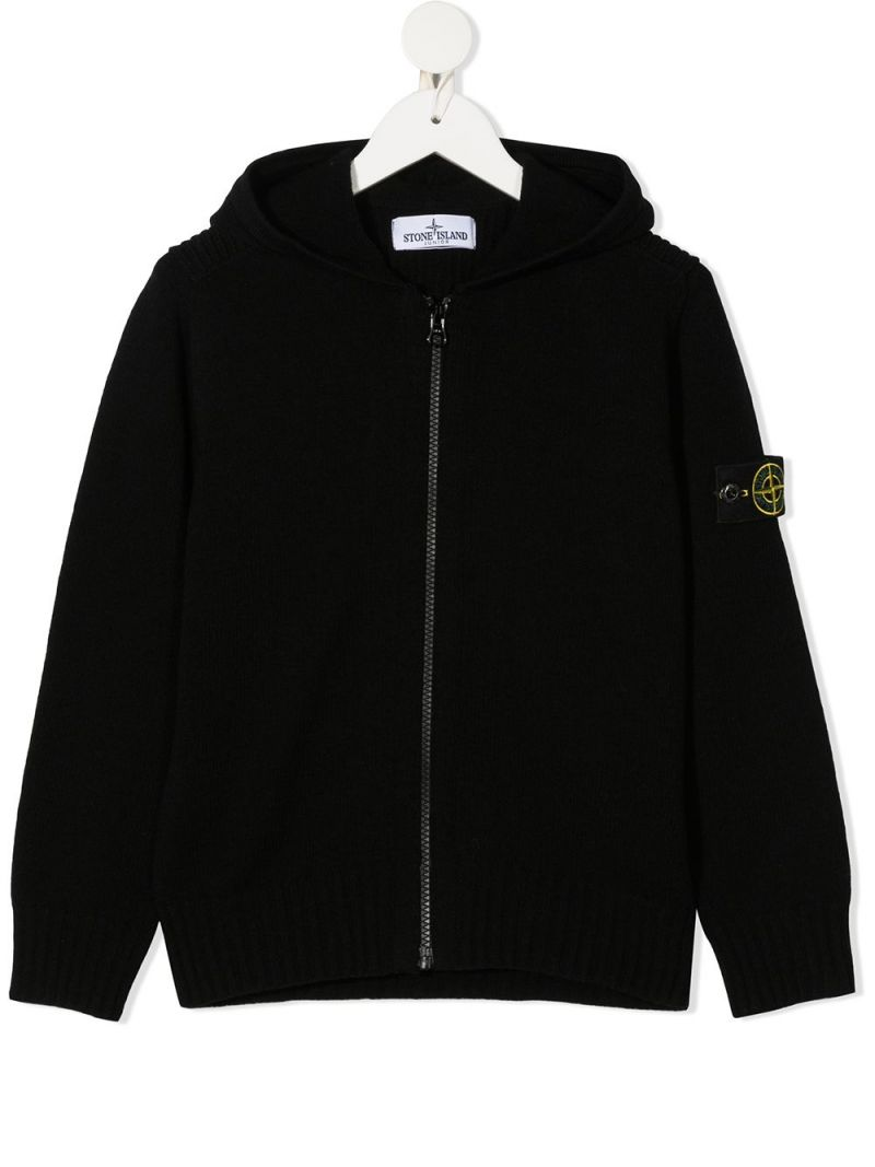 STONE ISLAND JUNIOR: pullover full-zip in misto lana con badge logo Colore Nero_1