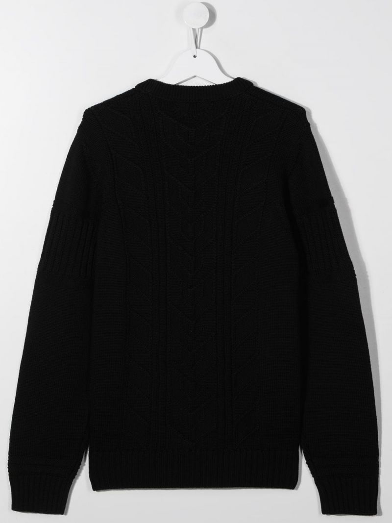 STONE ISLAND JUNIOR: logo-detailed wool pullover Color Black_2
