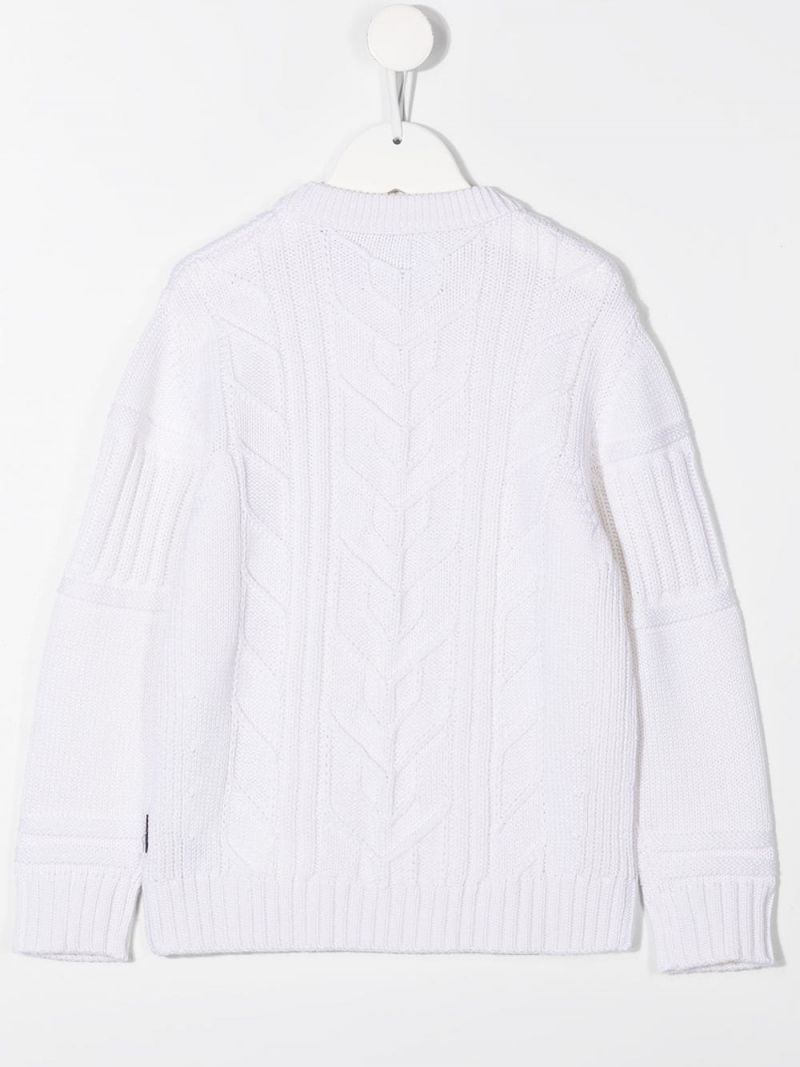 STONE ISLAND JUNIOR: logo-detailed wool pullover Color White_2