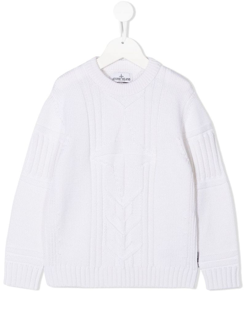STONE ISLAND JUNIOR: logo-detailed wool pullover Color White_1