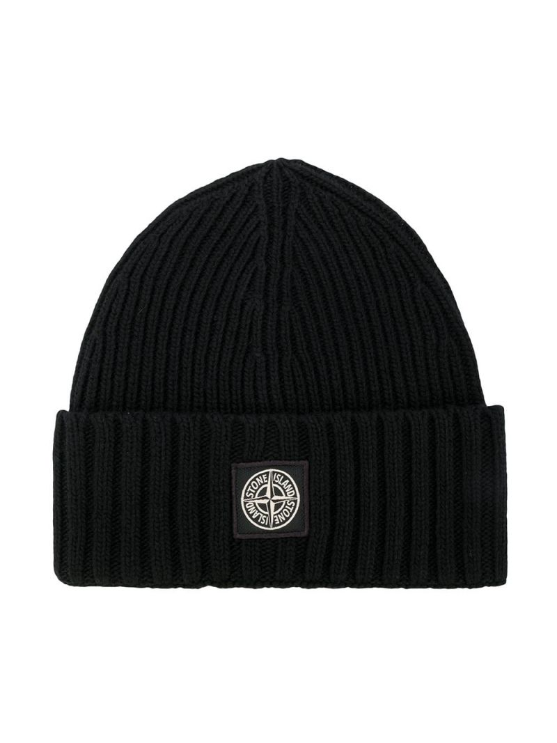 STONE ISLAND JUNIOR: logo patch wool cashmere blend beanie Color Black_1