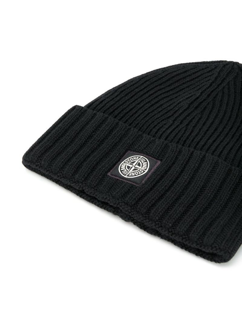 STONE ISLAND JUNIOR: logo patch wool cashmere blend beanie Color Black_2