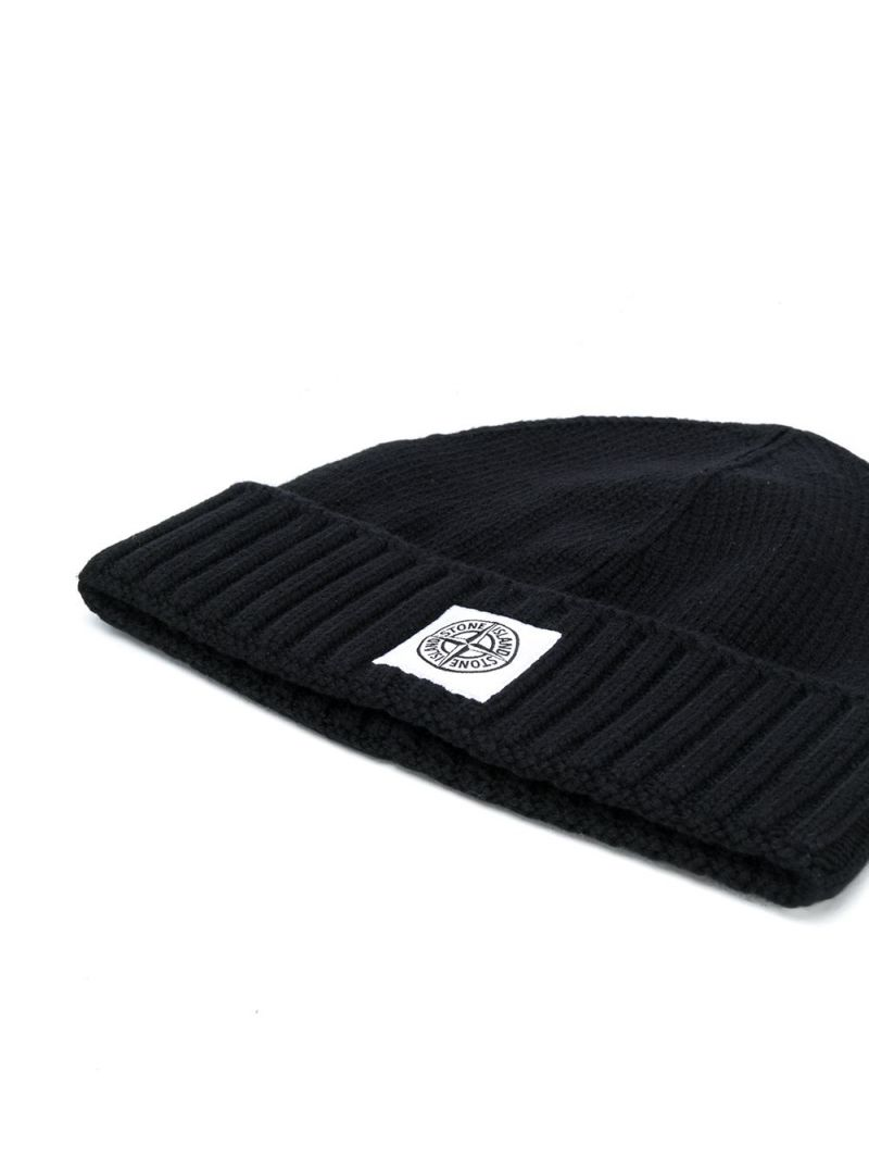 STONE ISLAND JUNIOR: logo patch cotton blend beanie Color Black_2