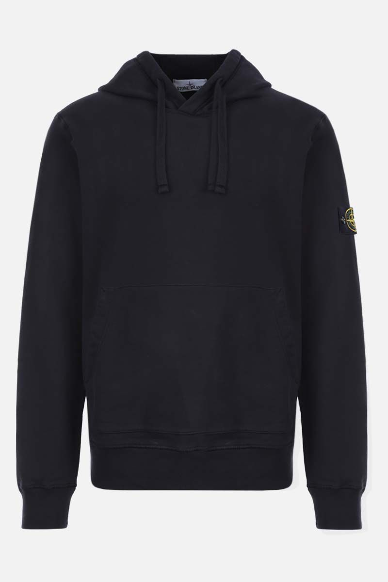 STONE ISLAND: logo badge-detailed cotton hoodie Color Blue_1