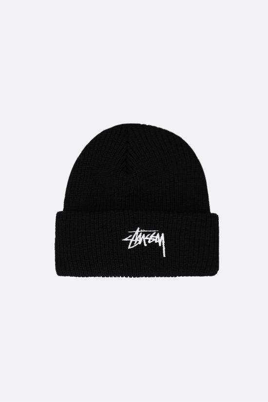 STUSSY: Stussy embroidered ribbed-knit beanie Color Black_1