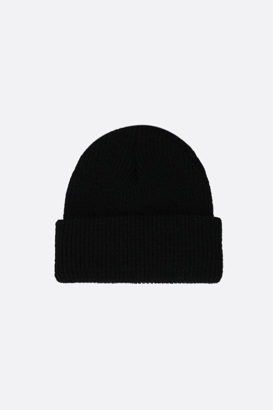 STUSSY: Stussy embroidered ribbed-knit beanie Color Black_2