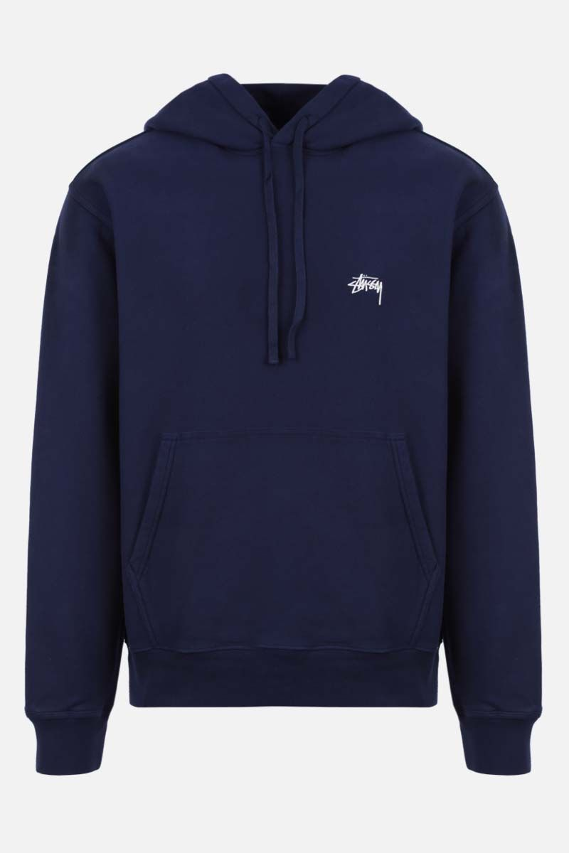STUSSY: Stussy embroidered cotton hoodie Color Blue_1