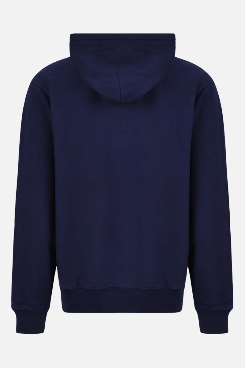 STUSSY: Stussy embroidered cotton hoodie Color Blue_2