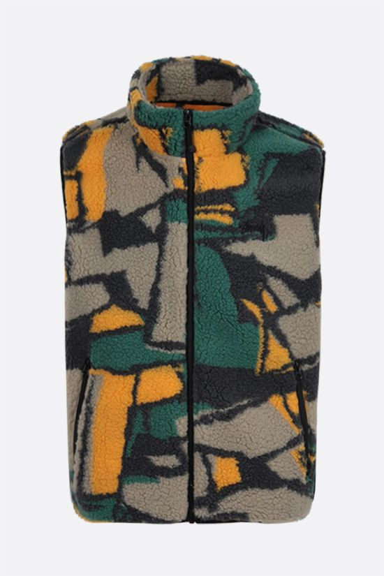 STUSSY: abstract print fleece vest Color Multicolor_1