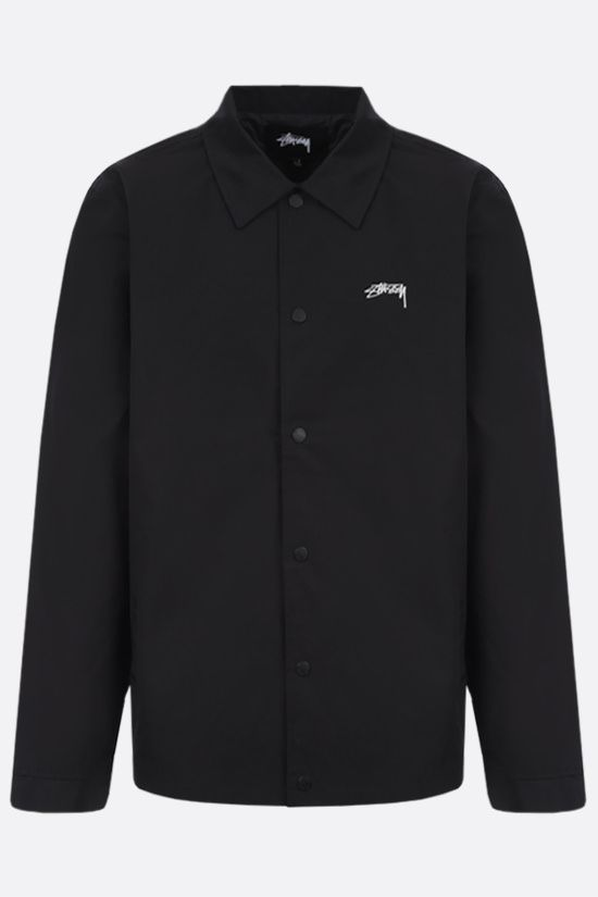 STUSSY: logo embroidered technical cotton overshirt Color Black_1