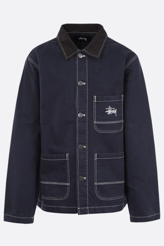 STUSSY: Stussy embroidered cotton jacket Color Blue_1