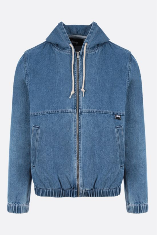STUSSY: full-zip denim jacket Color Blue_1